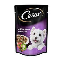 Влажный корм Cesar для собак, ягненок с овощами в соусе, пауч, 85 г (комплект из 28 шт.)