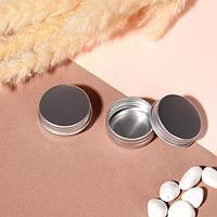 Баночка для хранения, 15 мл, d 4,1 x 2 см, фасовка 2 шт, цвет серебристый (комплект из 2 шт.)
