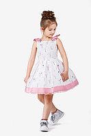 Детское для девочек летнее хлопковое нарядное платье Bell Bimbo 181071 набивка/розовый 104-56р.