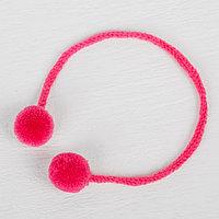 Декоративный элемент на верёвочке 2 шарика, d 1,5 см, набор 6 шт., цвет розовый