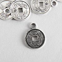 Декор для творчества металл 'Китайская монета' серебро 1,7х1,3 см (комплект из 20 шт.)