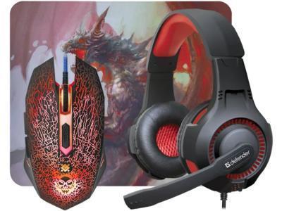 Комплект игровой Defender DragonBorn MHP-003 Мышь+гарнитура+ковер Черный/красный
