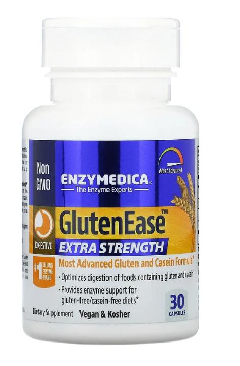 Enzymedica, GlutenEase, добавка для переваривания глютена с повышенной силой действия, 30 капсул
