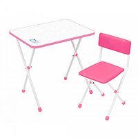 Детский стол Ника + мягкий стул Умка фантазер розовый