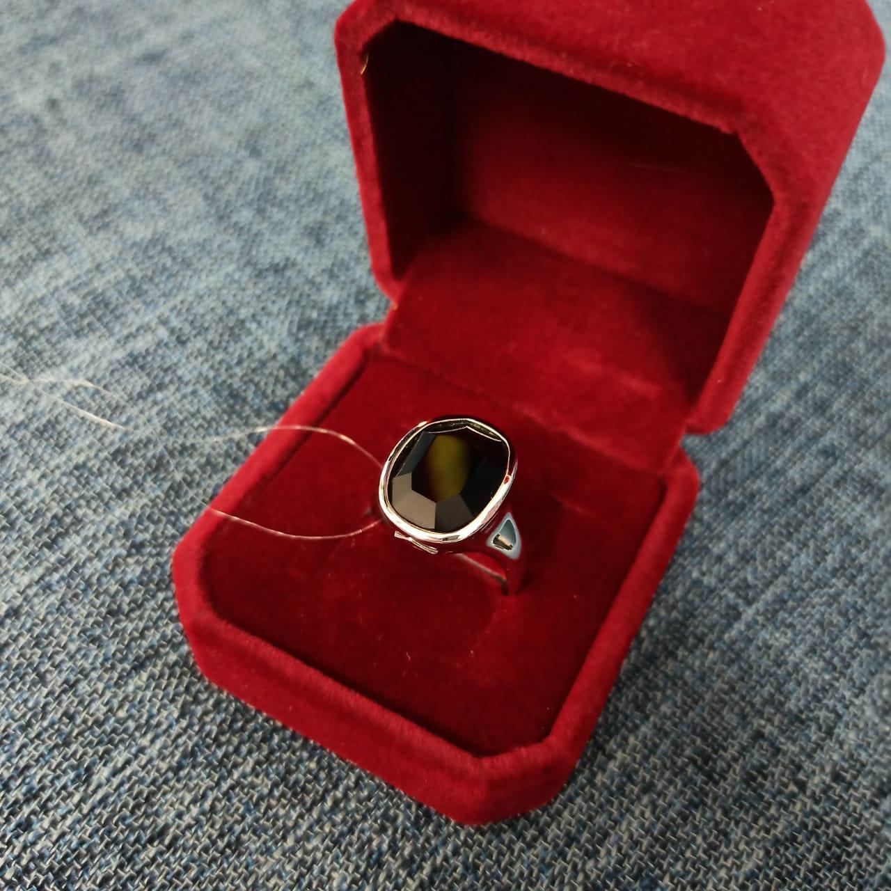 Кольцо с агатом и рубином / размер 17