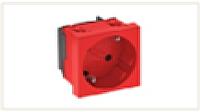Розетка силовая 33° одинарная 2К+З, 1 модуль Modul45, 45х45 мм, со шторками, 16А 250В красная