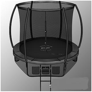 Батут Mzone 10ft диаметром 3,05 метра с защитной сетью и лестницей (черный)