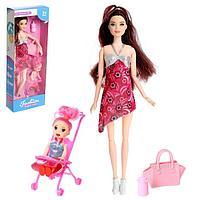 Кукла-модель «Наташа» беременная, шарнирная, с ребёнком и аксессуарами, МИКС