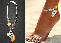 Браслет на ногу с желтой и радужной бусинами и ракушками Anklets нить белая