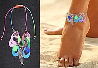 Браслет на ногу с с розово-фиолетовыми пайетками Anklets крыло серебристое