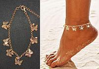 Браслет на ногу с кристаллами и подвесками в виде бабочек Anklets золотистый