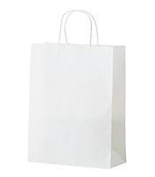 Бумажные белые пакеты с крученной ручкой с логотипом 320*200*340