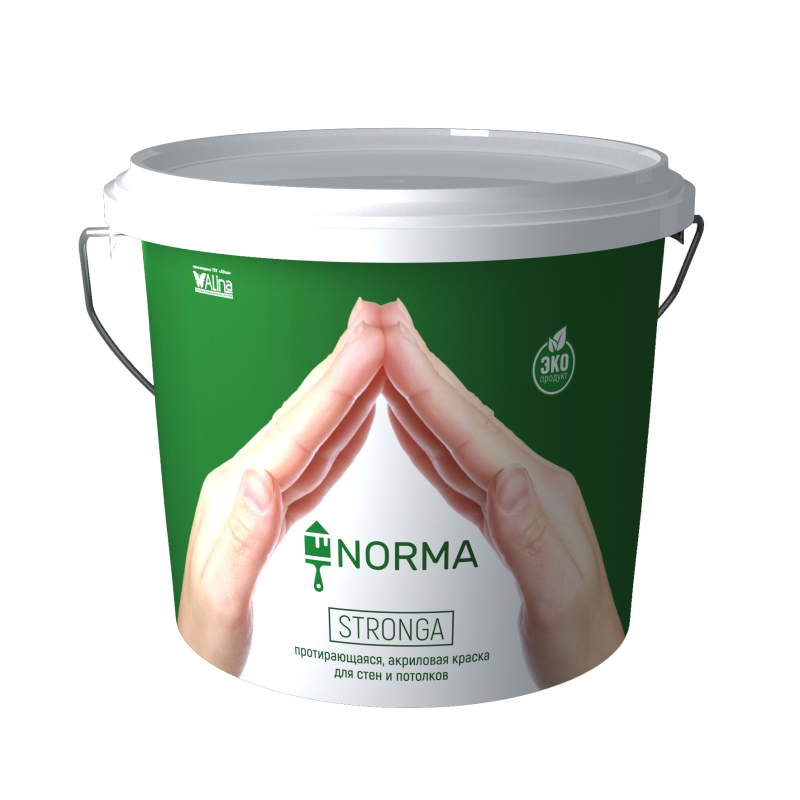 Протирающаяся акриловая краска для стен и потолков NORMA Stronga, 25 кг