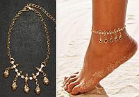 Браслет на ногу с кристаллами и подвесками в виде сердец Anklets золотистый