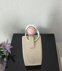 Кольцо «Сфера» с розовым кораллом / 18 размер