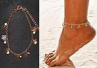 Браслет на ногу с кристаллами и подвесками в виде цветочков Anklets золотистый