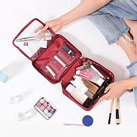 Дорожная косметичка органайзер непромокаемая с откидным карманом Travel бордовый