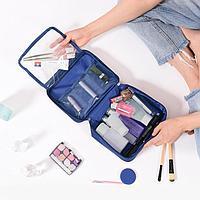 Дорожная косметичка органайзер непромокаемая с откидным карманом Travel синий