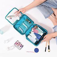 Дорожная косметичка органайзер непромокаемая с откидным карманом Travel голубой