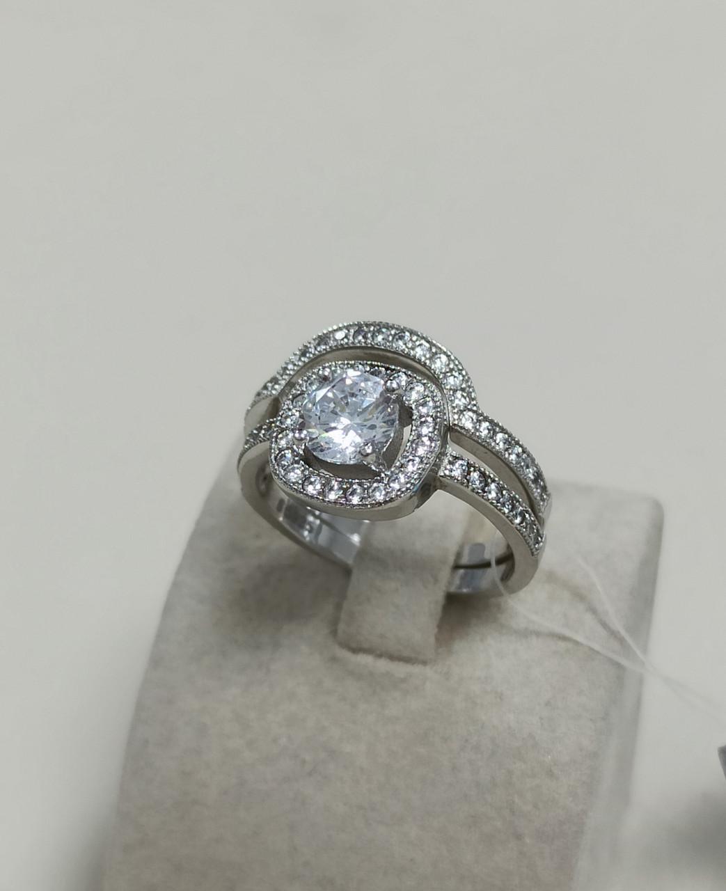 Двойное кольцо / Swarovski / 17 размер
