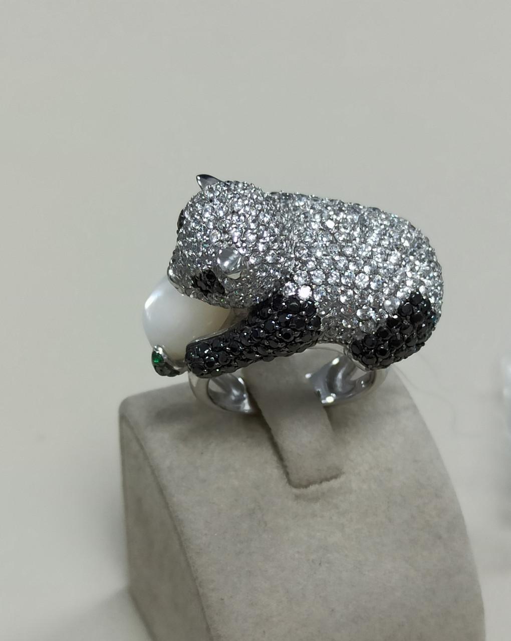 Кольцо «панда» с цирконом / 17 размер