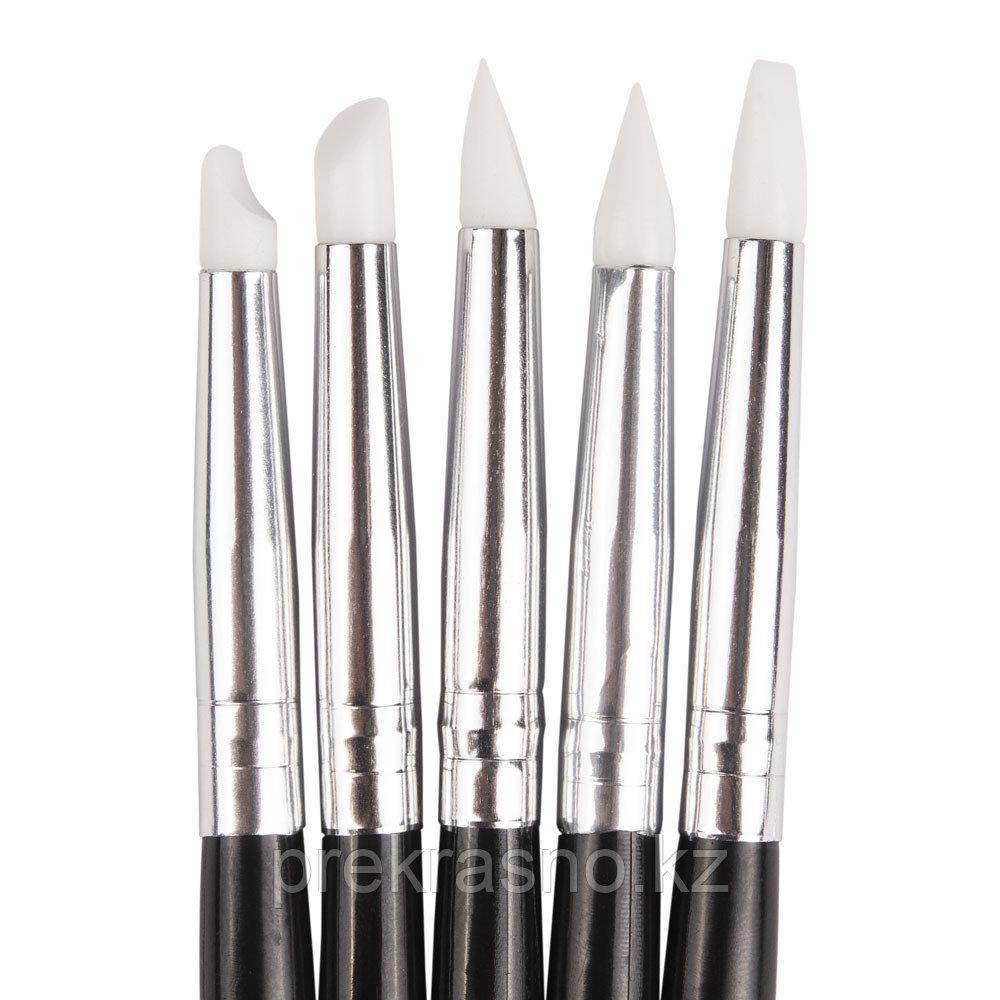 Набор силиконовых кистей для дизайна ногтей 5шт