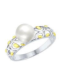 Кольцо с жемчугом / серебро - 17,5 размер