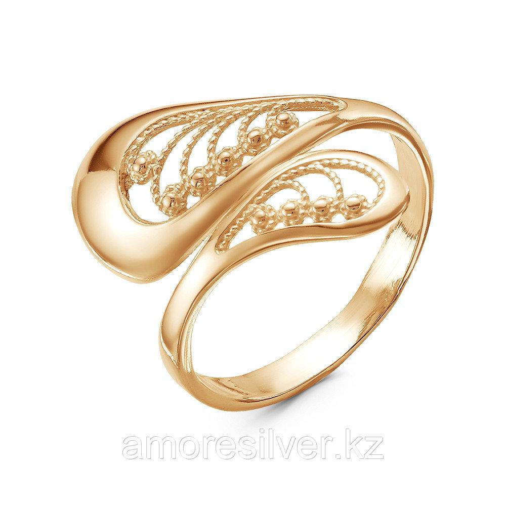 Кольцо Красная пресня серебро с позолотой, без вставок, ажурное 23011815 размеры - 17,5