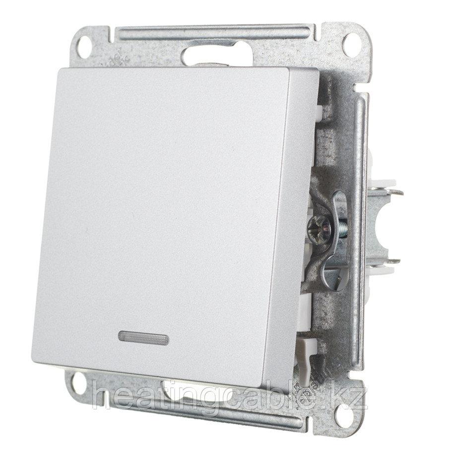 Atlas Design выключатель 1- клавишный с подсветкой МЕХАНИЗМ, скрытая установка алюминий