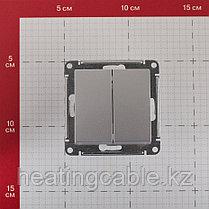 Atlas Design выключатель 2-клавишный МЕХАНИЗМ, скрытая установка алюминий, фото 3