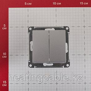Atlas Design переключатель 2-клавишный МЕХАНИЗМ, скрытая установка алюминий, фото 2