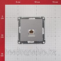 Atlas Design  розетка телефонная RJ11,МЕХАНИЗМ,скрытая установка алюминий, фото 2