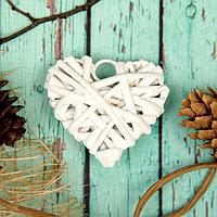 Основа для творчества и декорирования «Сердце» с подвесом, размер 1 шт: 6 × 6 см, цвет белый