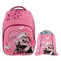 Рюкзак каркасный Luris Джерри 3 38x28x18 см, мешок для обуви, для девочки, «Собачка»