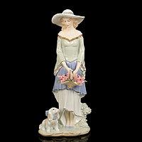 Сувенир керамика 'Скромная девушка в шляпке с корзиной цветов' 36,5х15х10 см