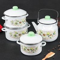 Набор кухонный 'Белая лилия', 4 предмета кастрюли 2 л, 3 л, 4 л, чайник 3,5 л