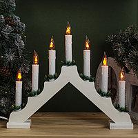 Фигура дерев. 'Горка рождественская белая', 7 свечей, 1,5 Вт, Е12, 220V, ЭФФЕКТ ОГНЯ