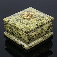 Шкатулка с ящеркой 7х7 см, змеевик