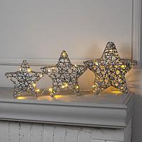 Фигура светодиодная 'Звезды серебряные' 3 штуки, 220V, Т/БЕЛЫЙ