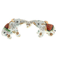 Нэцкэ керамика 'Слоны белые с цветным' набор 2 шт 4,5х17х6,3 см