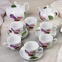 Сервиз чайный 'Королева цветов', 14 предметов чайник 1 л, сахарница 600 мл, 6 чашек 250 мл, 6 блюдец d14 см