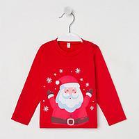 Фуфайка (лонгслив) 'Дед Мороз', цвет красный, рост 80