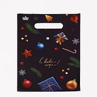 Пакет 'Новогодний стиль', полиэтиленовый с вырубной ручкой, 30 х 20 см, 30 мкм (комплект из 100 шт.)