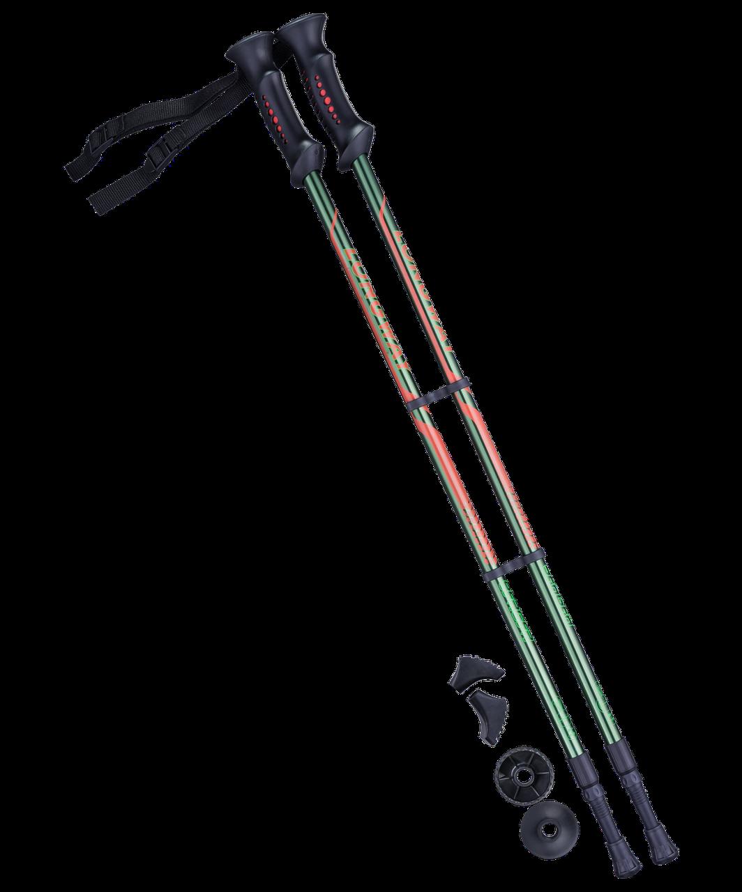 Палки для скандинавской ходьбы Longway, 77-135 см, 2-секционные, чёрный/ярко-зелёный Berger