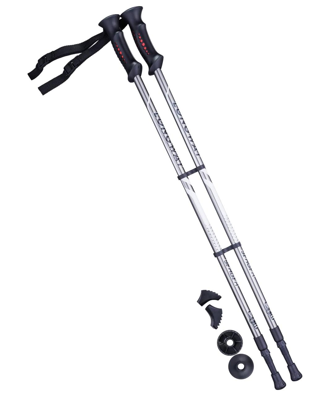 Палки для скандинавской ходьбы Longway, 77-135 см, 2-секционные Серый/черный