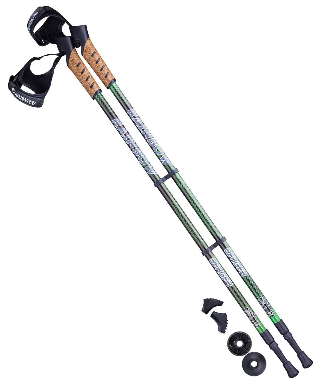 Палки для скандинавской ходьбы Rainbow, 77-135 см, 2-секционные, чёрный/ярко-зелёный Berger