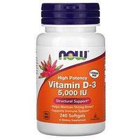 Витамин D3, 125 мкг (5000 МЕ), Now Foods 240 мягких таблеток