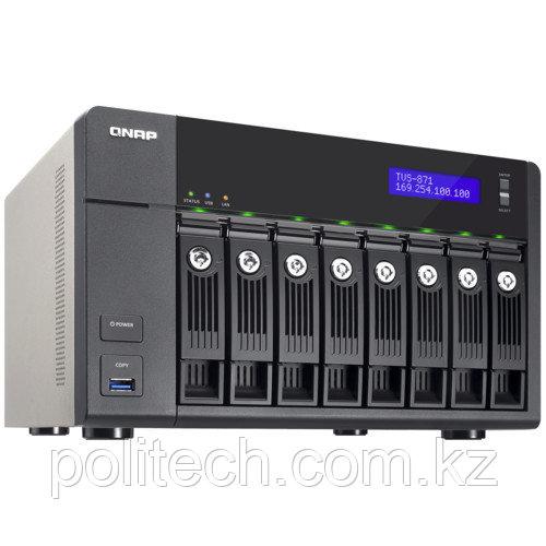 Дисковая СХД Qnap Сетевой RAID-накопитель, 8 отсеков для HDD, HDMI-порт. TVS-871-i3-4G (Tower)