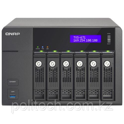Дисковая СХД Qnap Сетевой RAID-накопитель, 6 отсека для HDD, HDMI-порт. TVS-671-i3-4G (Tower)