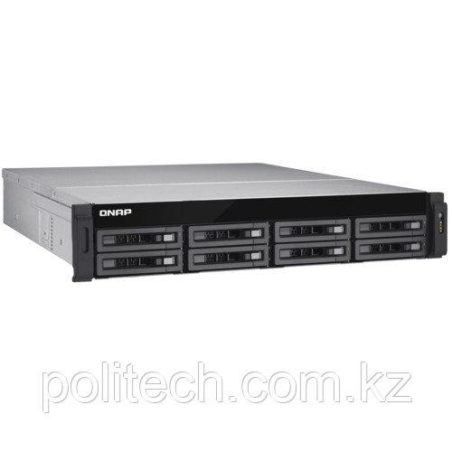 Дисковая СХД Qnap Сетевой RAID-накопитель, 8 отсека для HDD, два порта 10 GbE (SFP+), стоечное исполнение, два